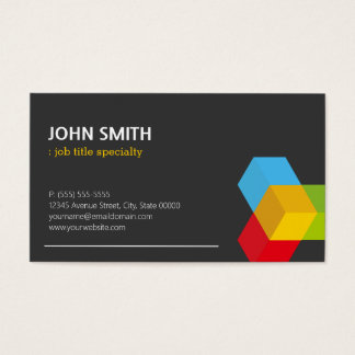 Modern Black and White with Colorful 3D Cube Logo Business Card