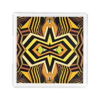 Modern Black and Yellow Geometric Acrylic Tray
