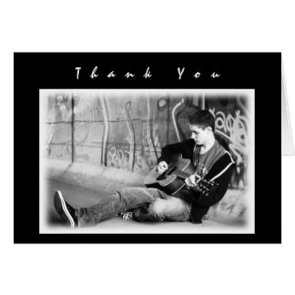 Modern Black Boys Photo Thank You Graduation Gift Card