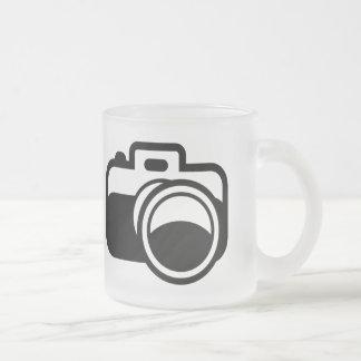 Modern Black Camera Icon Photographer 10 Oz Frosted Glass Coffee Mug