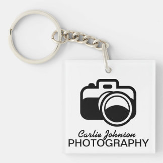 Modern Black Camera Icon Photographer Keychain