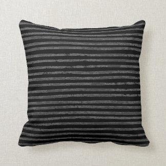 Modern Black Charcoal Gray Grunge Stripes Throw Pillow