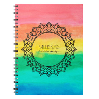 Modern Black Circle Mandala Watercolors Background Spiral Notebook