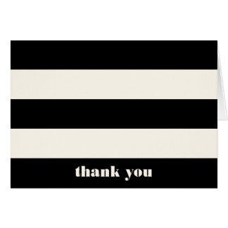 Modern Black & Cream Stripe Thank You Card