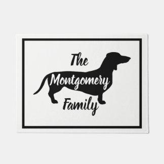 Modern Black Dachshund & Family Name Doormat