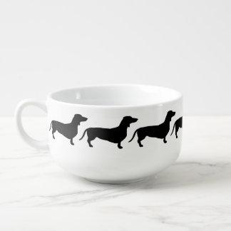 Modern Black Dachshunds Soup Mug