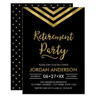 Modern Black Faux Gold Chevron Retirement Party Card
