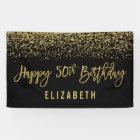 Modern Black Faux Gold Glitter 50th Birthday Banner