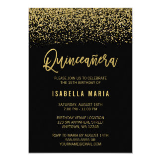 Modern Black Faux Gold Glitter Quinceanera Card