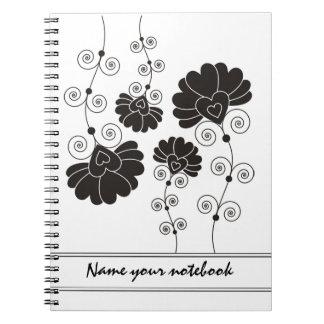 Modern Black Floral Designer Notebooks