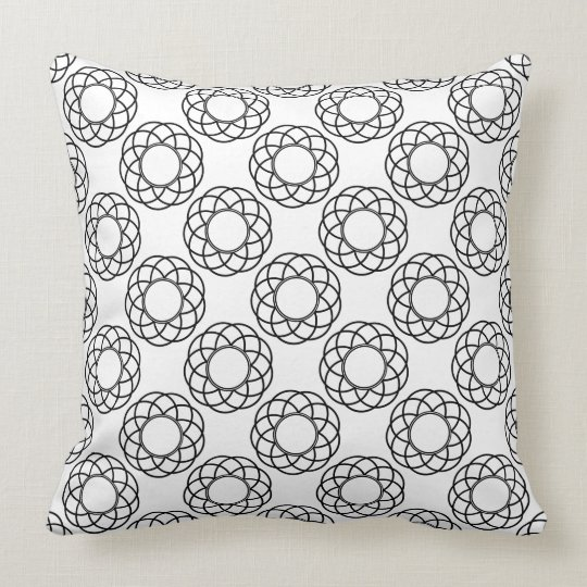 Modern Black Flowers on White Throw Pillow