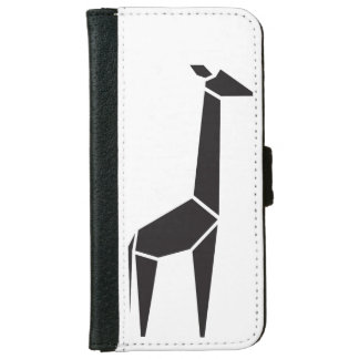 Modern black giraffe symbol iPhone 6 wallet case