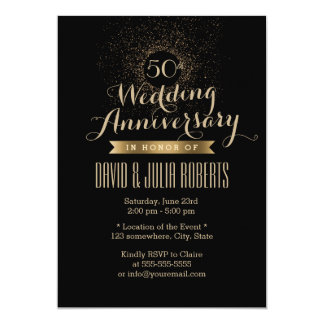 "Modern Black & Gold 50th Wedding Anniversary 5"" X 7"" Invitation Card"