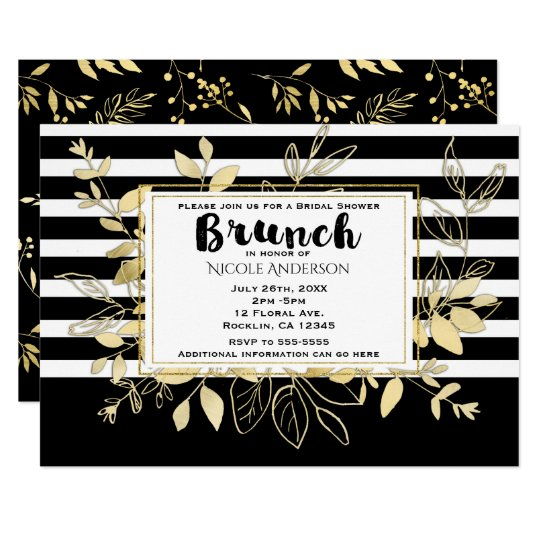 Modern Black Gold Botanical Glamour Bridal BRUNCH Card