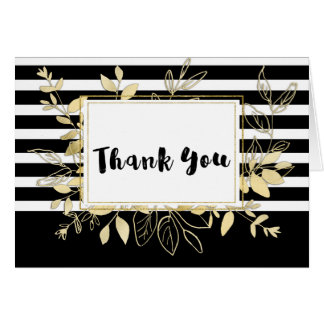 Modern Black Gold Botanical Glamour Chic Thank You Card