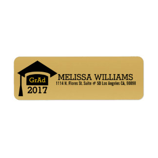 Modern Black & Gold Class Of 2017 Graduation Return Address Label