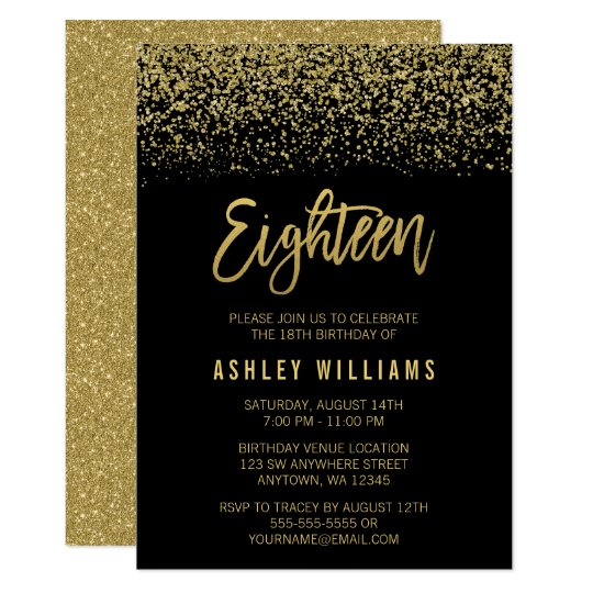 Modern black gold faux glitter 18th birthday invitation zazzle modern black gold faux glitter 18th birthday invitation stopboris Image collections