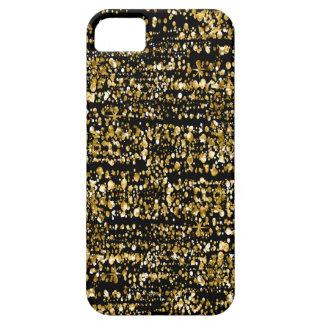 Modern Black & Gold Faux Glitter & Sparkles iPhone 5 Case