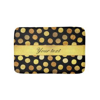 Modern Black Gold Foil Confetti Dots Bath Mat