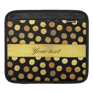 Modern Black Gold Foil Confetti Dots Sleeve For iPads