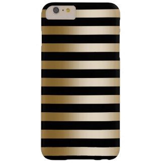 Modern Black & Gold Foil Stripes Barely There iPhone 6 Plus Case