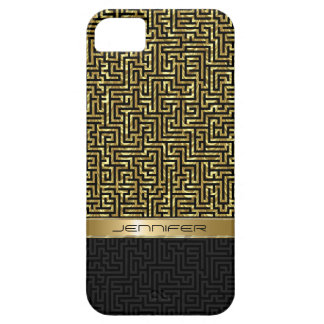 Modern Black & Gold Geometric Pattern iPhone 5 Covers