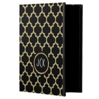 Modern Black & Gold & Glitter Geometric Quatrefoil Powis iPad Air 2 Case