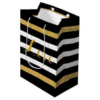 Modern Black & Gold Glitter Stripes Medium Gift Bag