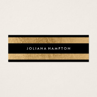 Modern Black Gold Luxe Business Card, foil skinny Mini Business Card