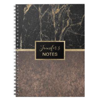 Modern Black & Gold Marble Elegant Copper Notebook
