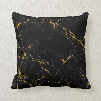 Modern Black & Gold Marble Stone Throw Pillow