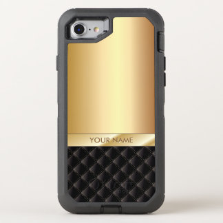 Modern Black & Gold Name OtterBox Defender iPhone 7 Case