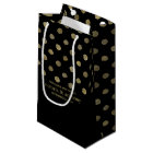Modern Black & Gold Polka Dots Wedding Favour Small Gift Bag