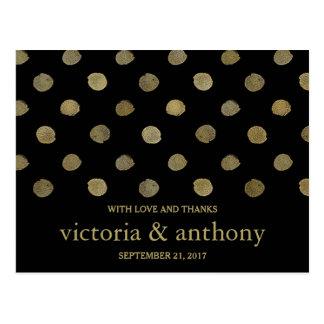 Modern Black & Gold Polka Dots Wedding Thank You Postcard