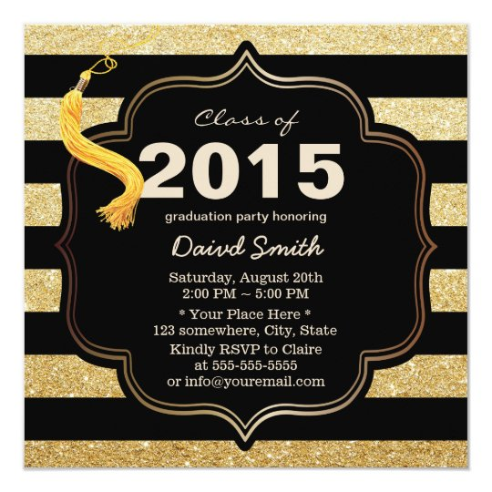 Modern Black & Gold Stripes Graduation Card