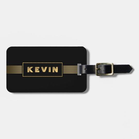 Modern Black &Gold Stripes Luggage Tag