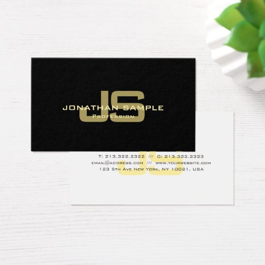 Modern Black Gold White Stylish Monogram Trendy Business Card