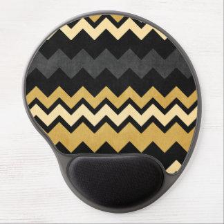 Modern Black Gray Gold Chevron Pattern Gel Mouse Pad