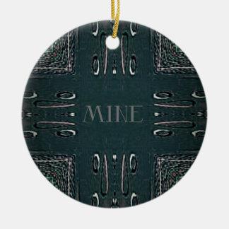 Modern Black Gray 'Mine' Goth Pattern Ceramic Ornament