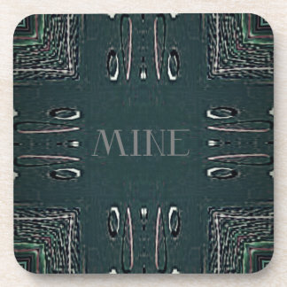 Modern Black Gray 'Mine' Goth Pattern Coaster