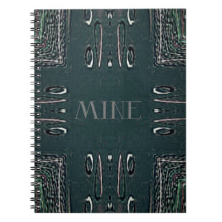 Modern Black Gray 'Mine' Goth Pattern Notebooks