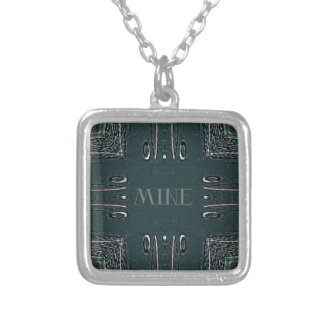 Modern Black Gray 'Mine' Goth Pattern Silver Plated Necklace