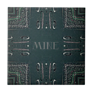 Modern Black Gray 'Mine' Goth Pattern Tile