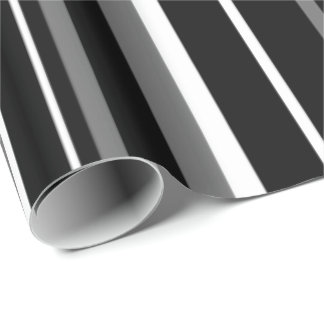 Modern Black Gray White Barcode Stripe Wrapping Paper