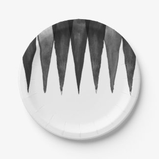 Modern black  gray white watercolor zigzag pattern 7 inch paper plate