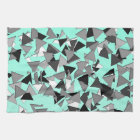 Modern Black, Grey, and White Geo Triangles Teal Kitchen Towel