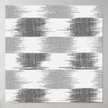 Modern black grey white ikat pattern poster