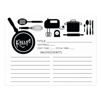 Modern Black Kitchen Utensils Recipe Card Postcard