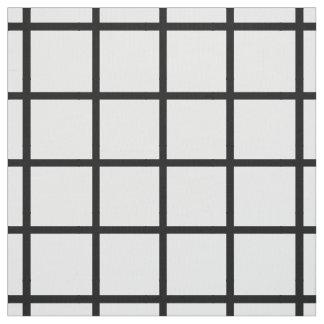 Modern Black Lattice on White Fabric