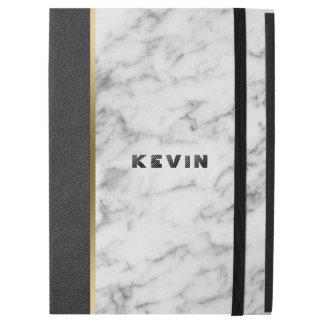 "Modern Black Leather & White Marble iPad Pro 12.9"" Case"